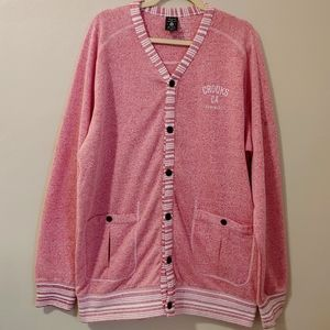 Crooks & Castles pink white button down cardigan